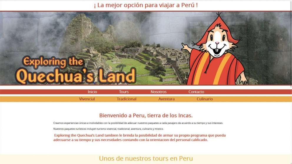 Diseño de la pagina Web de Exploring the Quechua's Land