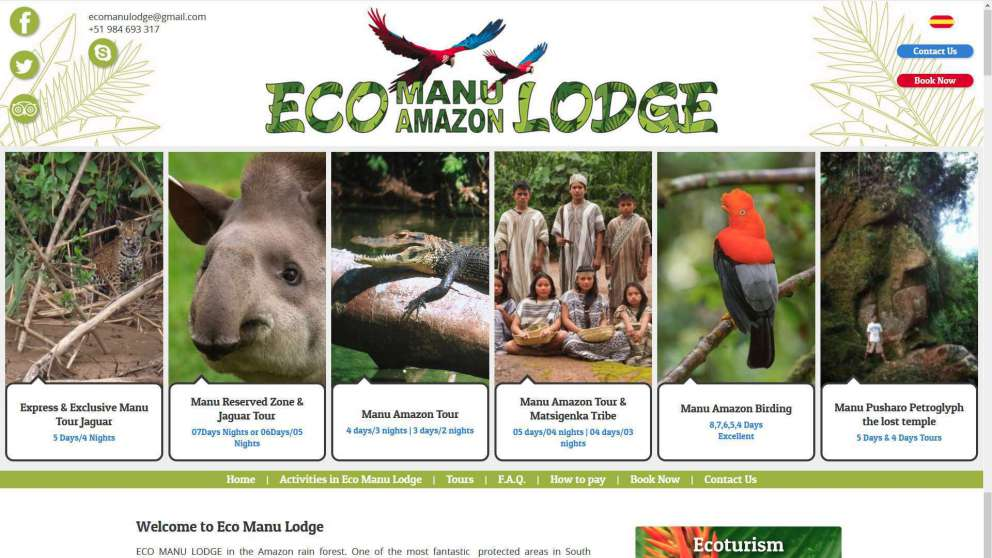 La pagina Web de Eco manu Lodge
